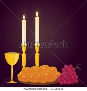 Image from Shutterstock/Illustration of Shabbat candles, kiddush cup and challah.